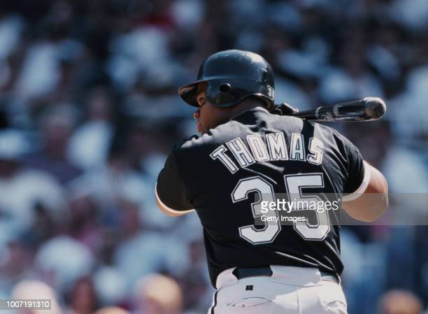 Frank Thomas, Designated Hitter for the Chicago White Sox eyes the ball as he swings his bat during the Major League Baseball American League East...