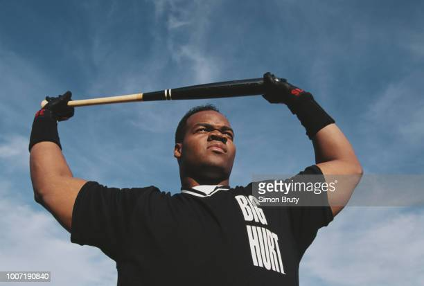 Frank Thomas, Designated Hitter for the Chicago White Sox poses for a portrait with the Big Hurt name on his uniform on 9 February 1996 in Atlanta,...
