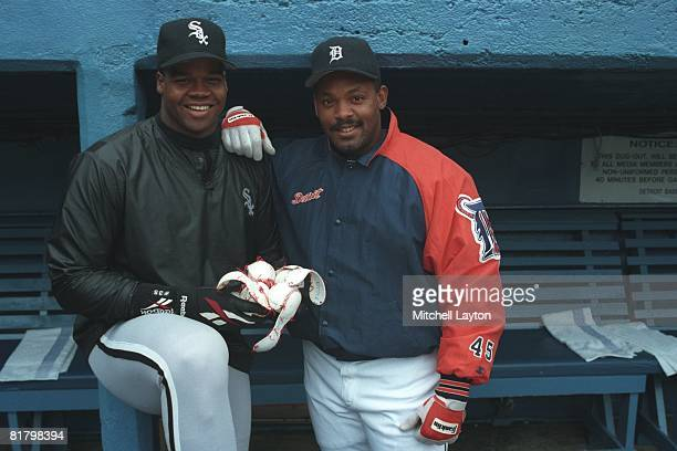 Frank Thomas of the Chicago White Sox and Cecil Fielder of the Detroit Tigers pose for photo on April 20 1994 at Tigers Stadium in Detroit Michigan