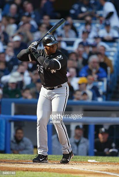 Frank Thomas of the Chicago White Sox bats against the New York Yankees during the Yankees opening home game on April 9, 2004 at Yankee Stadium in...