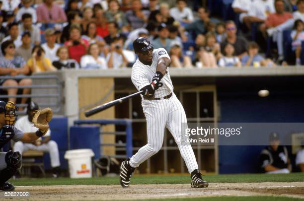 Frank Thomas of the Chicago White Sox bats at Comiskey Park on June 23 1996 in Chicago Illinois