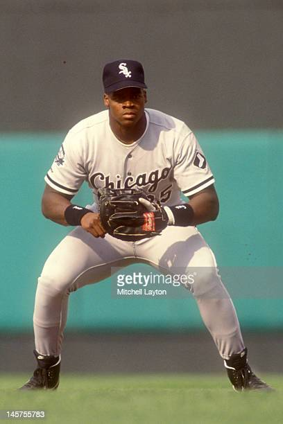 Frank Thomas of the Chicago White Sox in position during a baseball game against the Baltimore Orioles at Memorial Stadium on April 24 1991 in...