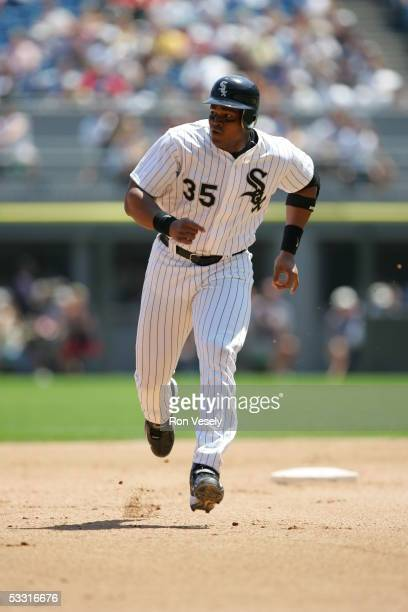 Frank Thomas of the Chicago White Sox runs the bases during the game against the Kansas City Royals at US Cellular Field on June 22 2005 in Chicago...