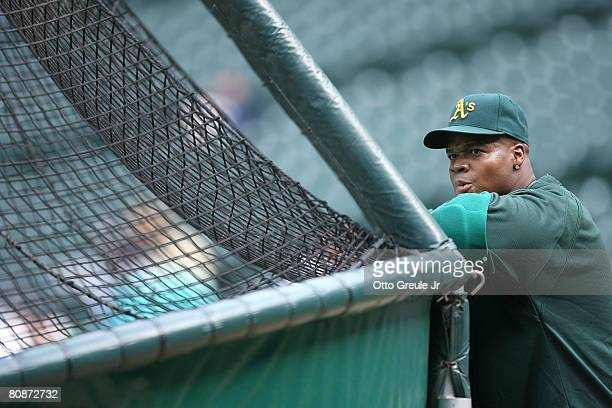 Frank Thomas of the Oakland Athletics watches batting practice from behind the cage prior to the game against the Seattle Mariners on April 26 2008...