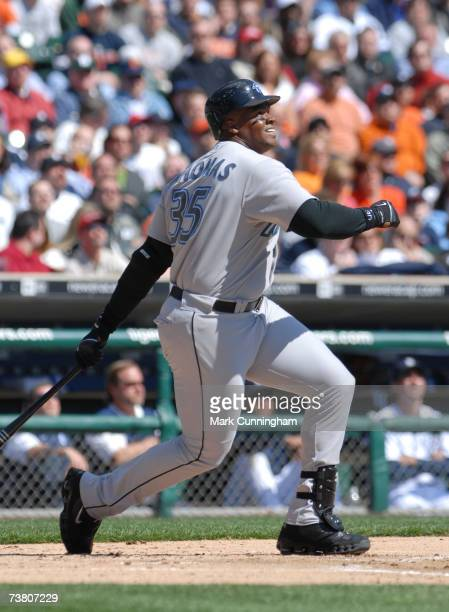 Frank Thomas of the Toronto Blue Jays bats during the game against the Detroit Tigers at Comerica Park in Detroit Michigan on April 2 2007 The Blue...