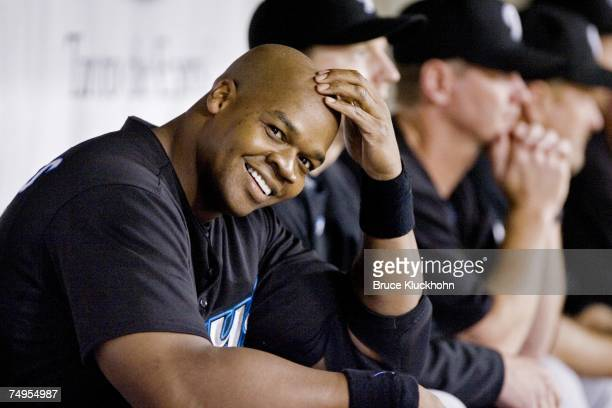 Frank Thomas of the Toronto Blue Jays smiles in the dugout after hitting his 500th career home run in a game against the Minnesota Twins at the...