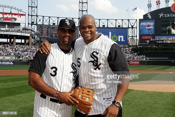 Frank Thomas poses with Harold Baines of the Chicago White Sox prior to Game One of the ALCS at US Cellular Field on October 4 2005 in Chicago...