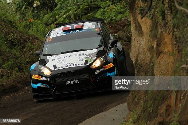 Frank Tore Larsen and Torstein Eriksen in Ford Fiesta R5 of Frank Tore Larsen during the shakedow of the FIA ERC Azores Airlines Rallye 2016 in Ponta...