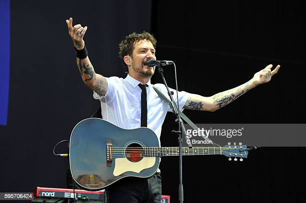 Frank Turner and the Sleeping Souls perform on stage during Day 1 of the Reading Festival at Richfield Avenue on August 26 2016 in Reading England