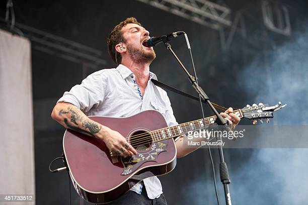 Frank Turner of Frank Turner and The Sleeping Souls performs on stage at Sonisphere at Knebworth Park on July 5 2014 in Knebworth United Kingdom