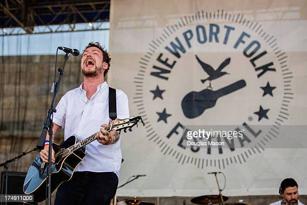 Frank Turner performs during the 2013 Newport Folk Festival at Fort Adams State Park on July 28 2013 in Newport Rhode Island
