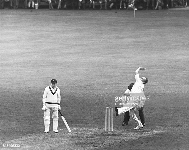 Frank Tyson bowling for England at a test match in Nottinghamshire England v South Africa