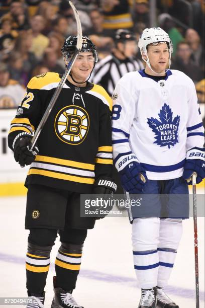 Frank Vatrano of the Boston Bruins against Connor Brown of the Toronto Maple Leafs at the TD Garden on November 11 2017 in Boston Massachusetts