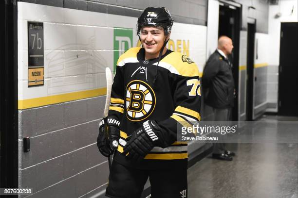 Frank Vatrano of the Boston Bruins before the game against the Los Angeles Kings at the TD Garden on October 28 2017 in Boston Massachusetts