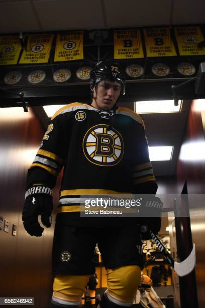 Frank Vatrano of the Boston Bruins heads out to warm up before the game against the Ottawa Senators at the TD Garden on March 21 2017 in Boston...