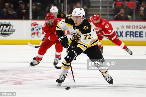 Frank Vatrano of the Boston Bruins heads up ice in the first period while playing the Detroit Red Wings at Little Caesars Arena on February 6 2018 in...