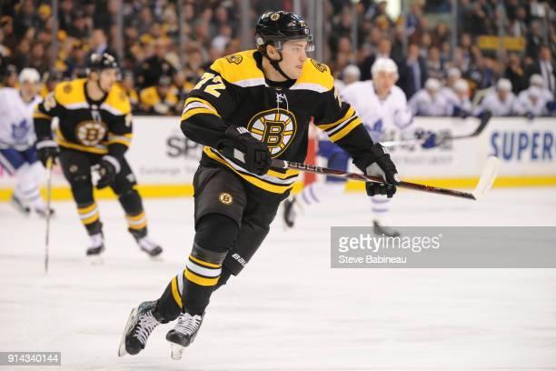 Frank Vatrano of the Boston Bruins skates against the Toronto Maple Leafs at the TD Garden on February 3 2018 in Boston Massachusetts