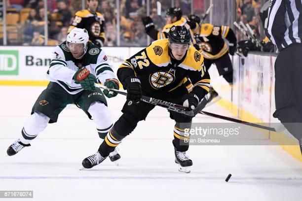Frank Vatrano of the Boston Bruins skates with the puck against the Minnesota Wild at the TD Garden on November 6 2017 in Boston Massachusetts
