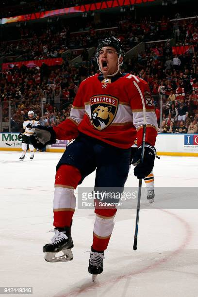 Frank Vatrano of the Florida Panthers celebrates his goal during the first period against the Boston Bruins at the BBT Center on April 5 2018 in...