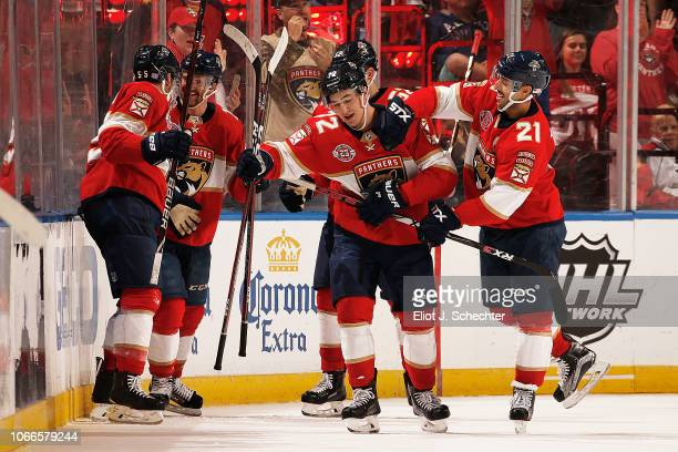 Frank Vatrano of the Florida Panthers celebrates his goal with teammate Vincent Trocheck during the second period against the Ottawa Senators at the...