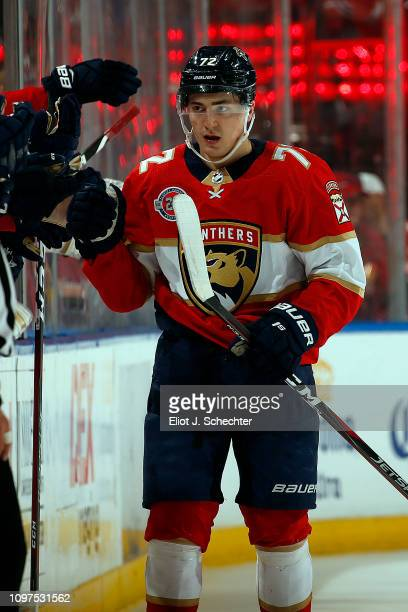 Frank Vatrano of the Florida Panthers celebrates his goal with teammates during the second period against the Tampa Bay Lightning at the BBT Center...