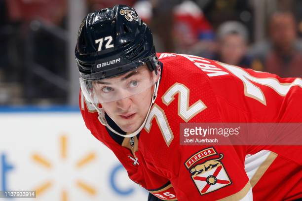 Frank Vatrano of the Florida Panthers prepares for a faceoff against the Boston Bruins at the BBT Center on March 23 2019 in Sunrise Florida The...