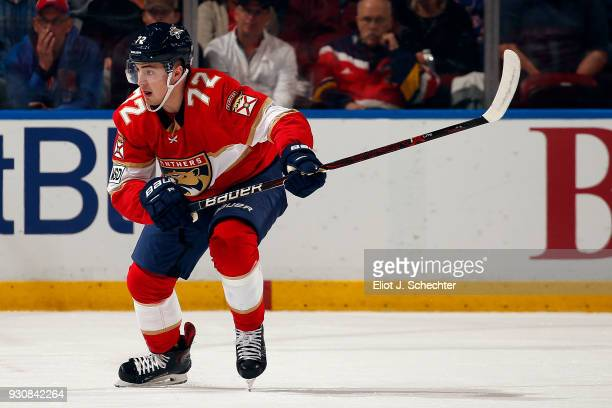Frank Vatrano of the Florida Panthers skates for position against the New York Rangers at the BBT Center on March 10 2018 in Sunrise Florida