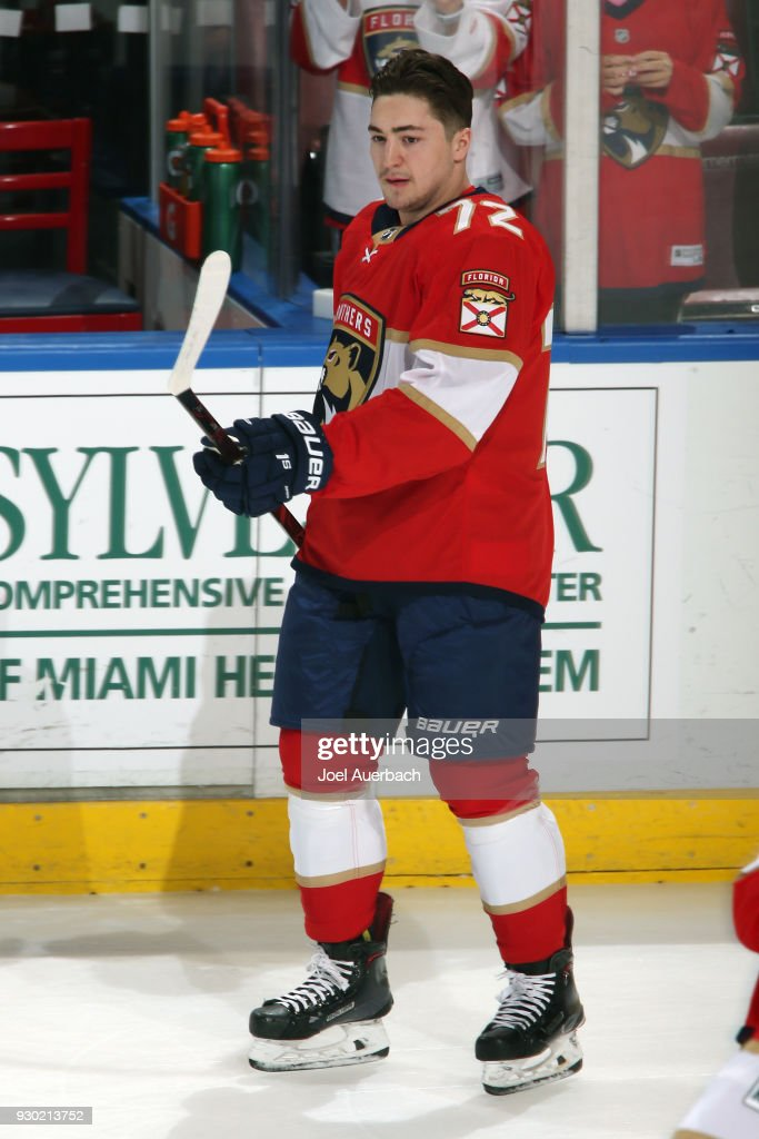 Frank Vatrano #72 of the Florida Panthers skates prior to the game against the New York Rangers at the BB&T Center on March 10, 2018 in Sunrise, Florida. Vatrano is playing in his first game with th ePanthers after being traded from Boston.