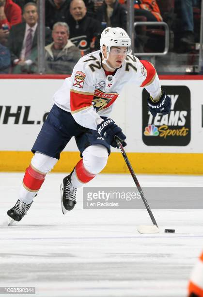 Frank Vatrano of the Florida Panthers skates the puck against the Philadelphia Flyers on November 13 2018 at the Wells Fargo Center in Philadelphia...