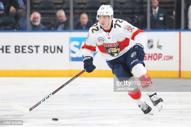 Frank Vatrano of the Florida Panthers skates with the puck against the New York Rangers at Madison Square Garden on November 17 2018 in New York City...