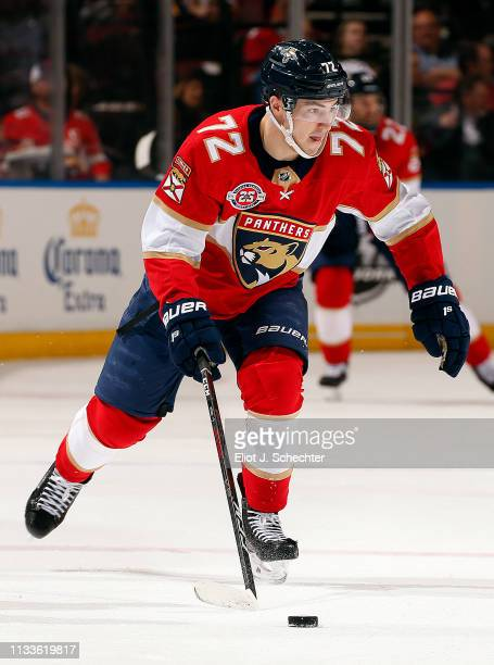 Frank Vatrano of the Florida Panthers skates with the puck against the Ottawa Senators at the BBT Center on March 3 2019 in Sunrise Florida