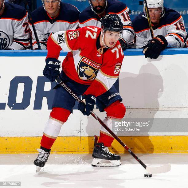 Frank Vatrano of the Florida Panthers skates with the puck against the Edmonton Oilers at the BBT Center on March 17 2018 in Sunrise Florida