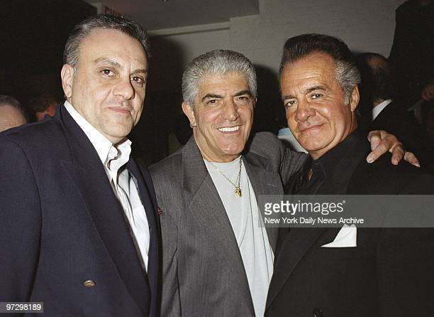 Frank Vincent is flanked by fellow actors Vince Curatola and Tony Sirico at the premiere party for the movie 'Under Hellgate Bridge' at No 9...