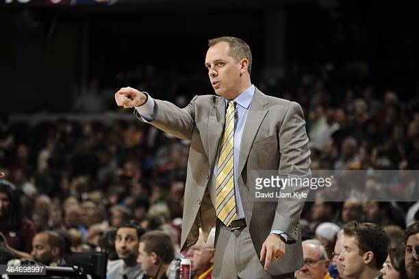 Frank Vogel head coach of Indiana Pacers on the sideline against the Cleveland Cavaliers at The Quicken Loans Arena on January 5 2014 in Cleveland...