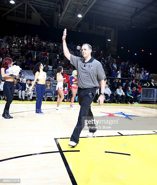 Frank Vogel head coach of the Eastern Conference AllStars is introduced during NBA AllStar Practice at Sprint Arena as part of 2014 NBA AllStar...