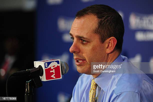 Frank Vogel of the Indiana Pacers addresses the media after Game Four of the Eastern Conference Quarterfinals against the Atlanta Hawks in the 2013...