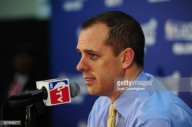 Frank Vogel of the Indiana Pacers answers questions during his post game press conference after the game against the Atlanta Hawks during Game Four...
