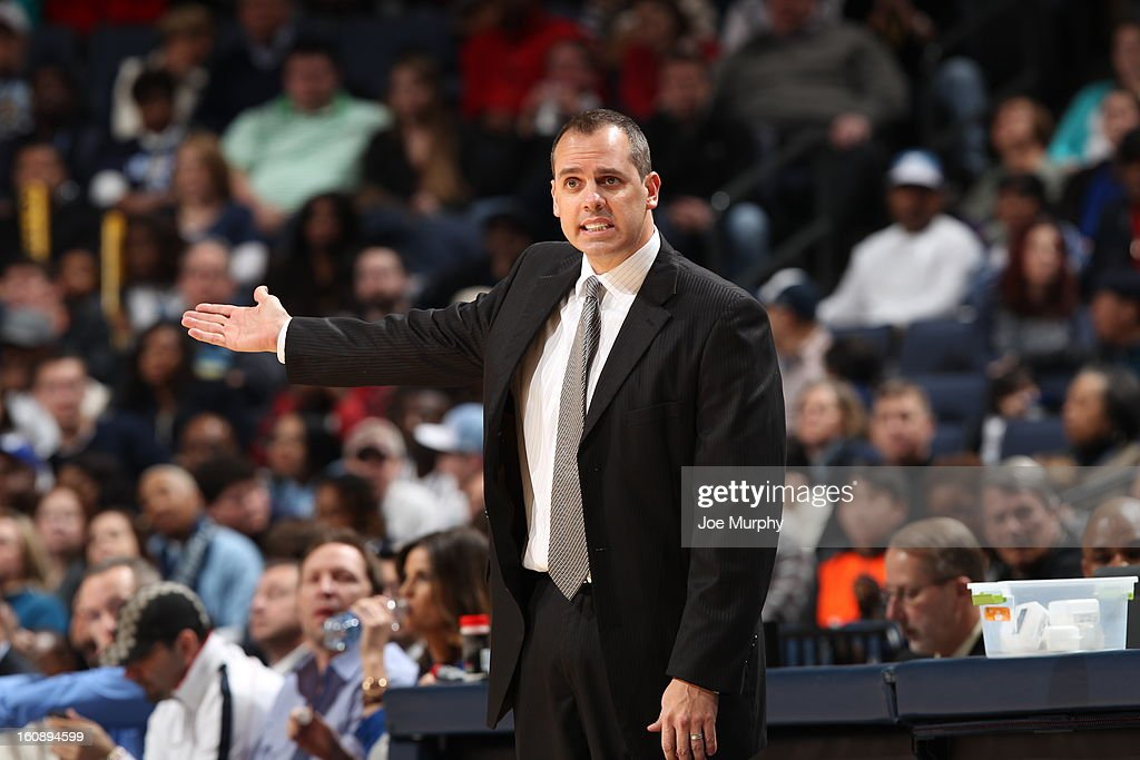 Frank Vogel of the Indiana Pacers calls plays from the bench against the Memphis Grizzlies on January 21, 2013 at FedExForum in Memphis, Tennessee.