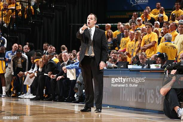 Frank Vogel of the Indiana Pacers coaches against the Miami Heat in Game Two of the Eastern Conference Finals during the 2014 NBA Playoffs at Bankers...