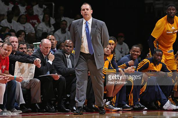 Frank Vogel of the Indiana Pacers coaches against the Washington Wizards in Game Six of the Eastern Conference Semifinals during the 2014 NBA...