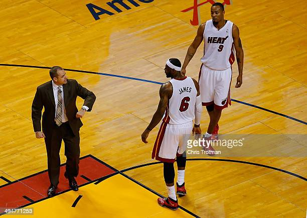 Frank Vogel of the Indiana Pacers speaks with LeBron James of the Miami Heat during Game Six of the Eastern Conference Finals of the 2014 NBA...