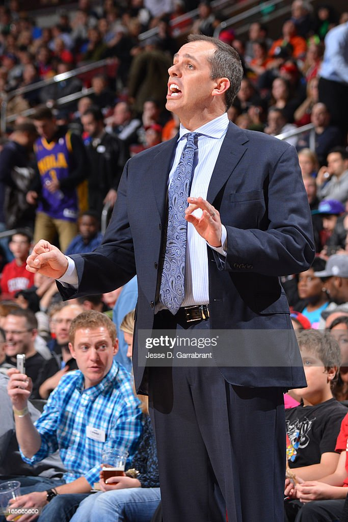 Frank Vogel of the Indiana Pacers yells plays from the bench during the game against the Philadelphia 76ers at the Wells Fargo Center on March 16, 2013 in Philadelphia, Pennsylvania.