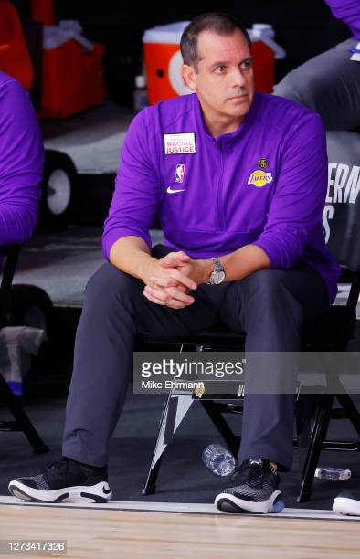 Frank Vogel of the Los Angeles Lakers looks on against the Denver Nuggets during the fourth quarter in Game One of the Western Conference Finals...
