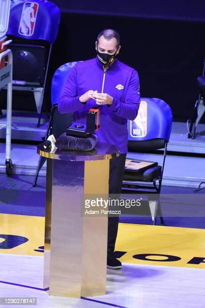 Frank Vogel of the Los Angeles Lakers reacts as he gets his 2019-20 NBA Championship ring during the ring ceremony before the game against the LA...