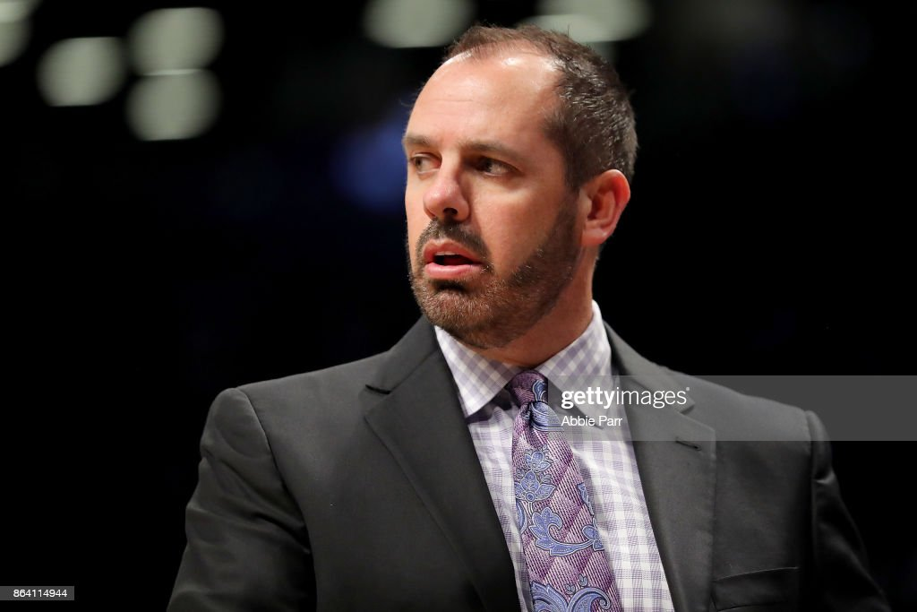 Frank Vogel of the Orlando Magic reacts in frustration in the Magic's 121-126 loss against the Brooklyn Nets during their game at Barclays Center on October 20, 2017 in the Brooklyn borough of New York City.