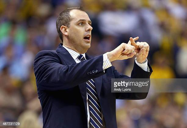 Frank Vogel the head coach of the Indiana Pacers gives instructions to his team against the Atlanta Hawks in Game 5 of the Eastern Conference...
