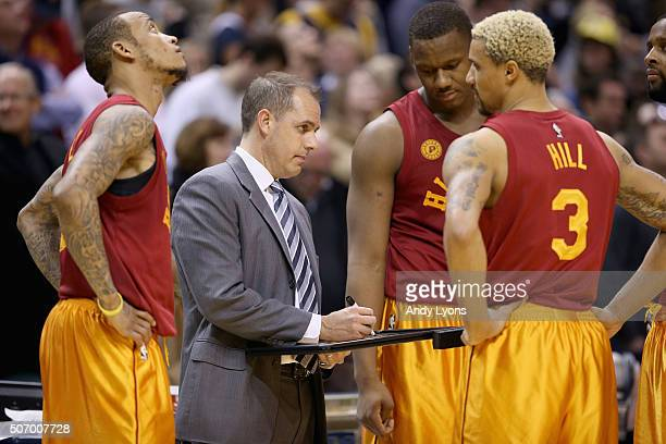 Frank Vogel the head coach of the Indiana Pacers gives instructions to his team against the Los Angeles Clippers at Bankers Life Fieldhouse on...