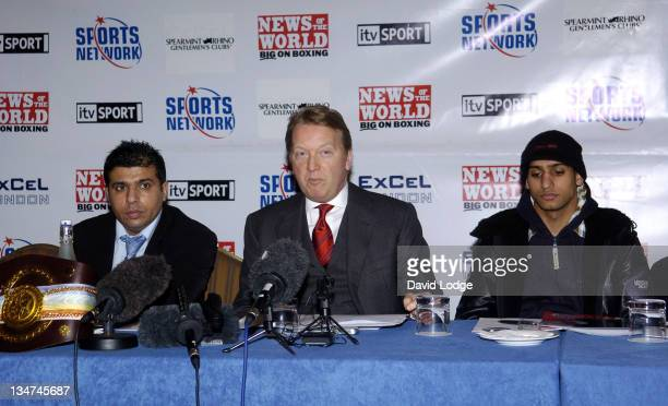 Frank Warren and Amir Khan during Boxing Matt Skelton vs Danny Williams News Conference February 23 2006 at The Landmark Hotel in London Great Britain