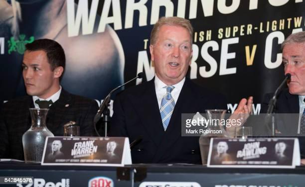 Frank Warren and Josh Warrington speak during a press conference at Leeds Aspire on September 4 2017 in Leeds England
