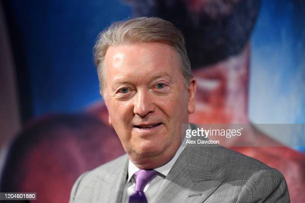 Frank Warren, boxing promoter looks on during the Daniel Dubois v Joe Joyce Press Conference at the BT Tower on February 07, 2020 in London, England.